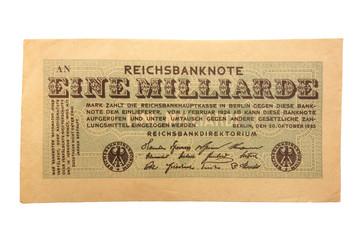 Inflationsgeld Reichsbanknote  20.10.1923 Eine Milliarde Mark