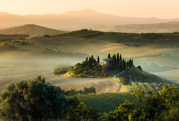 Tuscany italy foggy morning hill panorama