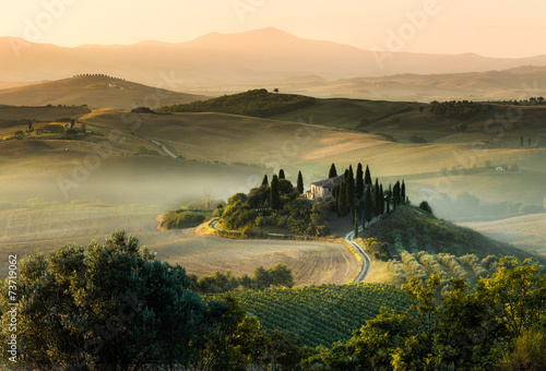 Tuscany italy foggy morning hill panorama - 73719062