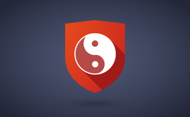 Long shadow shield icon with a ying yang