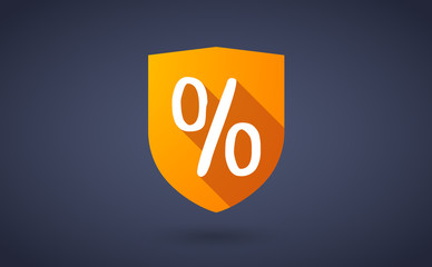 Long shadow shield icon with a percent sign
