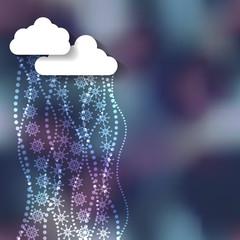 Winter cartoon clouds on blur background.