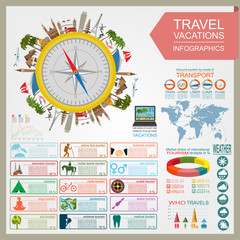 Travel. Vacations. Beach resort infographics. Elements for creat
