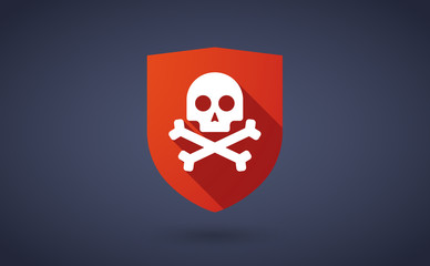 Long shadow shield icon with a skull