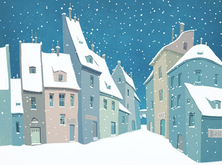 Traditional urban European landscape with snow