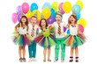 Group of joyful little kids having fun at birthday party