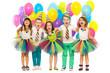 Leinwanddruck Bild - Group of joyful little kids having fun at birthday party