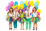 Group of joyful little kids having fun at birthday party - 73720284
