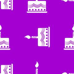 cake web icon. flat design. Seamless gray pattern.