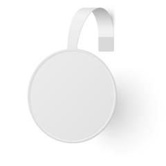 Round advertising wobbler isolated on white background