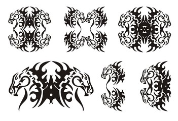 Tribal horse elements. Black on the white