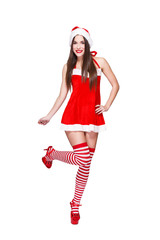 Santa woman in red outfit posing