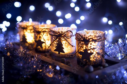 Adwent, cztery zdobione świece