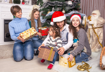 Family and friends celebrate Christmas.
