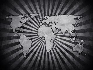 world map on rays pattern wall