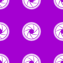Photo camera diaphragm web icon. flat design. Seamless gray