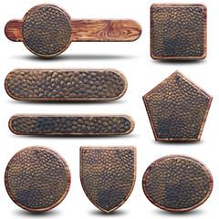 8 plaques métal et bois rustique