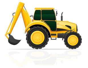 tractor with a bucket behind vector illustration