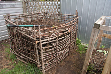 Backyard Compost Bin Built From Natural Materials