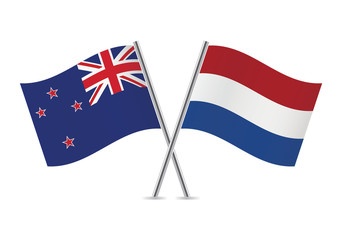 Netherlands and New Zealand flags. Vector illustration.