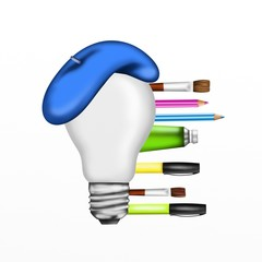 bulb with pencils and brushes