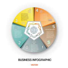 Diagram cyclic process, business infographic 5 positions