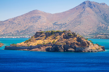 Spinalonga island at turquise water of Crete, Greece