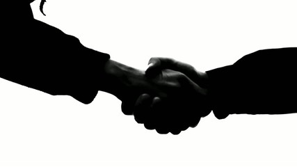 Black and white silhouette handshake 50 fps
