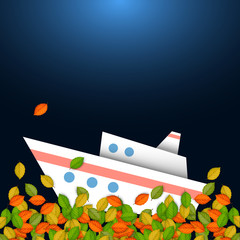 Autumnal concept - ship and leaves