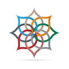 Colorful floral element for design