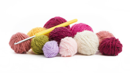 colored wool thread balls to crochet