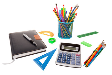Set of office and school supplies. For business.