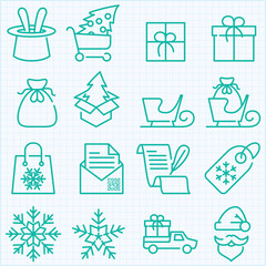 winter and Christmas time shopping and delivery icons set