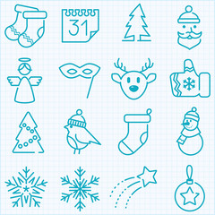 Thin line winter and Christmas time icons set