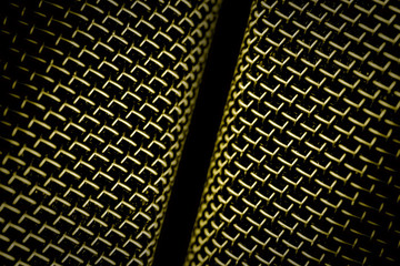 microphone mesh closeup abstract on black