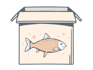 Vector illustration of open box with icon of fish on white backg