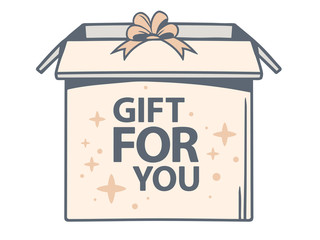 Vector illustration of open box with icon of gift for you on whi