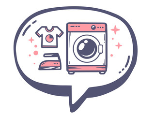 Vector illustration of bubble with icon of pink washing machine