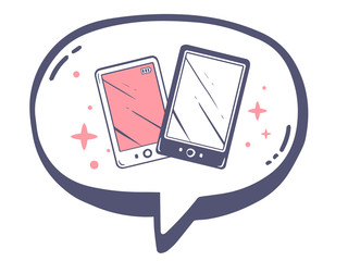 Vector illustration of bubble with icon of pink and black phone