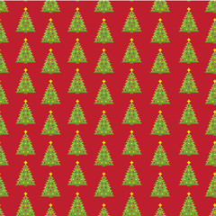 Pixel new year fir tree seamless pattern. Vector illustration.