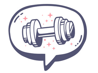 Vector illustration of bubble with icon of dumbbell on white bac