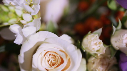 Details decor wedding table with flowers