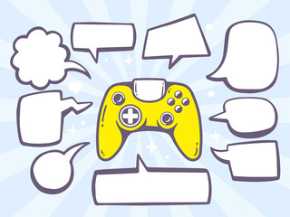 Vector illustration of joystick with speech comics bubbles on bl