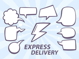 Vector illustration of express delivery with speech comics bubbl