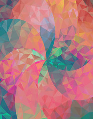 Abstract background with colorful triangles.