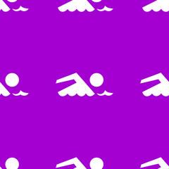 SWIMMER, pool web icon. flat design. Seamless gray pattern.