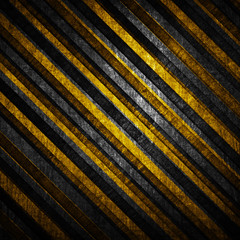 metal background with warning stripes