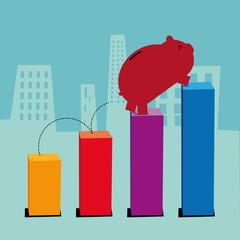 Cartoon Piggy bank jumping financial bars