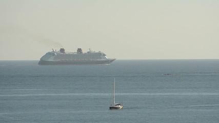 Ocean liner in morning haze