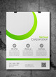 Business flyer template - simple white and green design